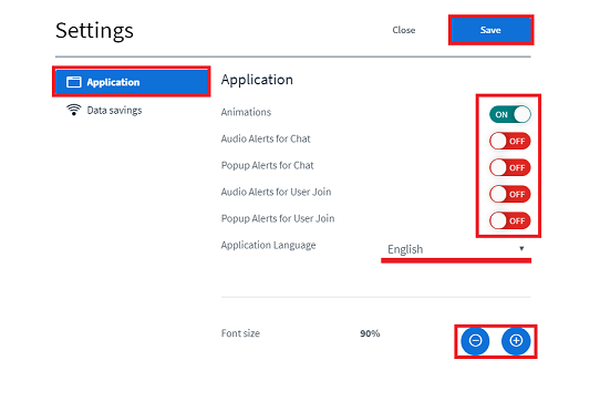 menu application settings
