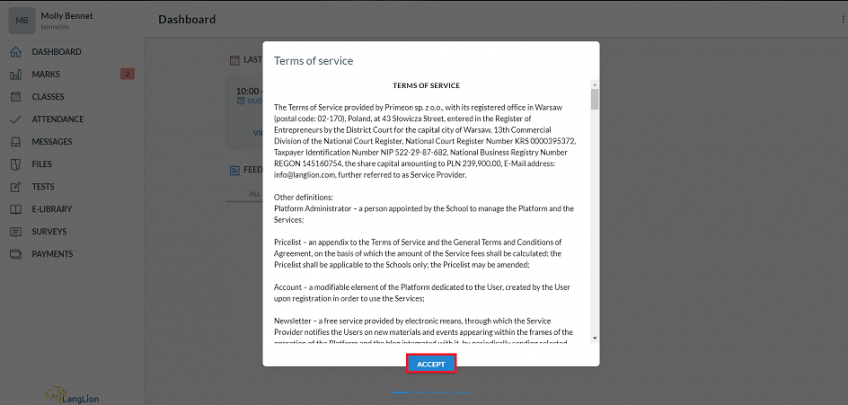 student panel terms of service