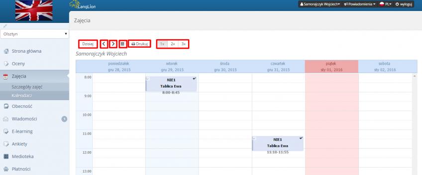 kalendarz operowanie czasem