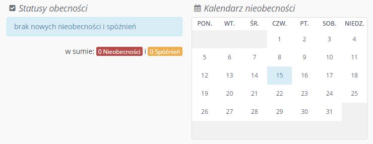 statusy i kalendarz obecności