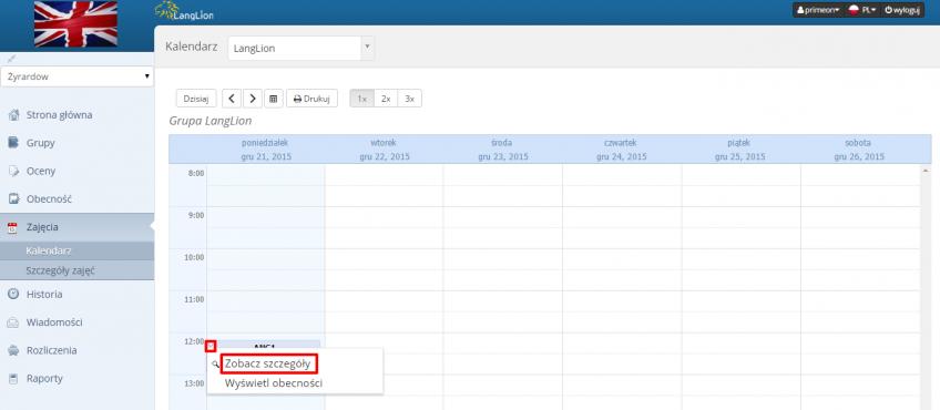 firma kalendarz szczegóły