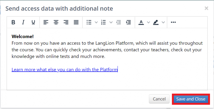 send access data with additional note