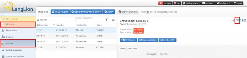 edit invoice status