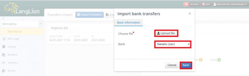 import bank transfers