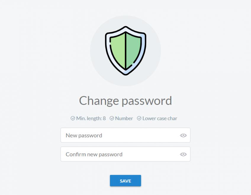 one-time password - change password