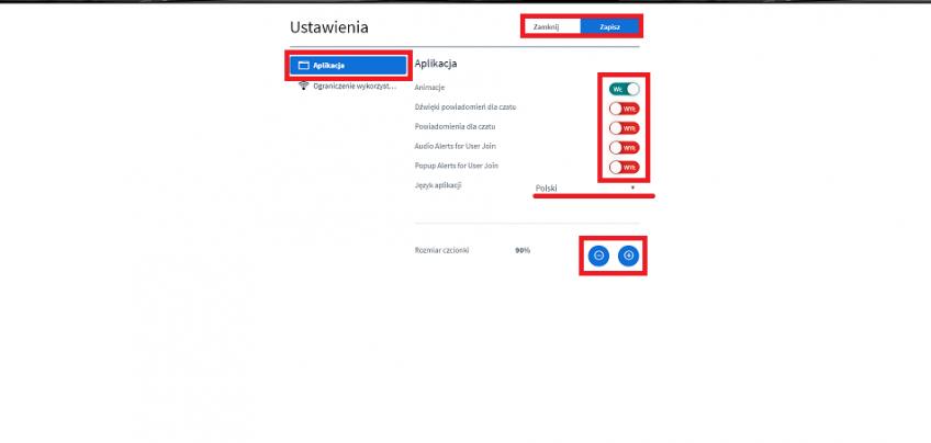 nowe online ustawienia aplikacji